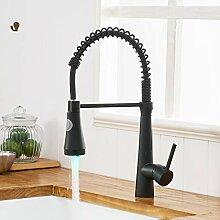 TIMACO LED Schwarz Wasserhahn Küche 360° Drehbar