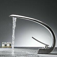 Timaco Wasserhahn Bad Nickel Gebürstet Waschbecken Armatur für Badzimmer