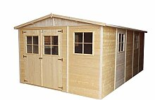 TIMBELA M337 Blockbohlen Gartenhaus aus Holz -