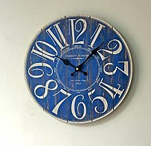Timeback 14 Zoll Arabisch Ziffer Design, Vintage Nostalgic Style, Home Decoration Hölzerne Runde Wanduhr (blau)