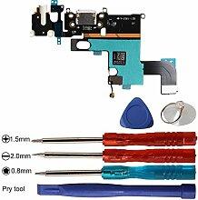 Timorn USB Dock Mic Ladeanschluss Flexkabel Ersatzteil und offene Reparatur Werkzeuge Kits für iPhone 6 (Weiß)