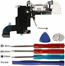 Timorn USB Ladeanschluss Dock Connector Flexkabel Mikrofon Audio Jack und Offene Reparatur Werkzeuge Kits für iPhone 6S 4.7inch (Weiß)