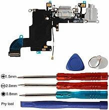 Timorn USB Ladeanschluss Dock Connector Flexkabel Mikrofon Audio Jack und Offene Reparatur Werkzeuge Kits für iPhone 6S 4.7inch (Tiefgrau)
