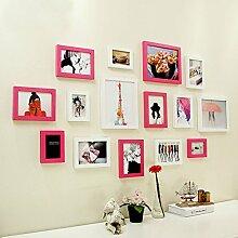 TING- 15 Multi Bilderrahmen Set Moderne Holz Minimalistischen Stil Foto Wandfarbe Schlafzimmer Studie Wohnzimmer Hintergrund Kreative Foto Rahmen Portfolio ( Farbe : B )