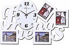 TING- Moderne Kunst Mute Wanduhr Bilderrahmen Wanduhr Schwarz und Weiß Unregelmäßige Mute Scan Wohnzimmer Schlafzimmer Wand Dekoration Quarzuhr ( Farbe : Weiß )