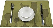 TININNA 4er Set Elegante Weinglas Muster Gewebter Tischsets Tischunterlage Platzdecken Platzset Platzmatten Tischmatten grün