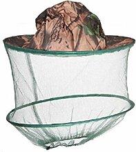 TININNA Herren Camouflage Tarnung Moskitonetz Moskitonetzhut Kopf Insektenschutz Tarnfarbe Kopfnetz Mosquito Hut Imkerhut khaki