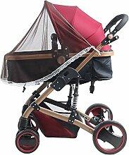 TININNA Universal Halbe Abdeckung Insektenschutz passend für Kinderwagen Moskitonetz Fliegennetz Mückennetz Insekt Netz Netting für Kinderwägen Cradles braun
