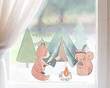 TinyFoxes Fensterbild Camping der Waldtiere -