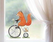 TinyFoxes Fensterbild Fuchs fährt Rad - Deko für
