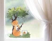 TinyFoxes Fensterbild Fuchs musiziert - Deko für
