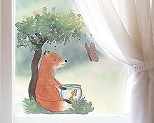 TinyFoxes Fensterbild Fuchs und Goldfisch für Das