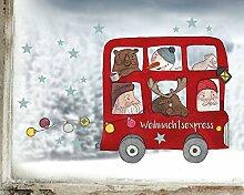 TinyFoxes Fensterbild Weihnachtsbus -