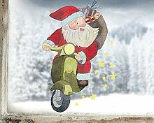 TinyFoxes Fensterbild Weihnachtsmann auf Moped -