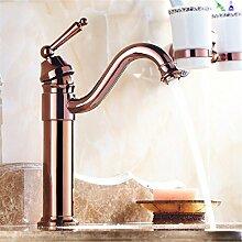 Tippen Sie auf das Messing Rose Gold Glas Waschbecken kunst Becken angehoben kontinentale Becken Sitzbank Becken heiße und kalte Mixer, hoch)