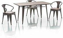 Tisch 'Almir' 140x84cm Echtholz Metallgestell Graphi