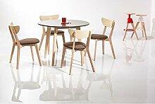 Tisch 'Helsinki' Esstisch Küchentisch Rund Grau 100x100 Echtholz Eiche gebleich