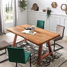 Tisch aus Akazie Massivholz und Metall in antik
