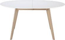 Tisch ausziehbar oval Weiß und helles Holz