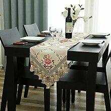 Tisch boxen european style tv schrank tisch dekoration tuch quaste luxury beige-A 32x180cm(13x71inch)