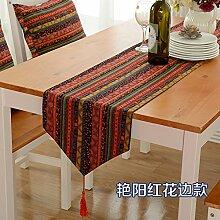 Tisch boxen european style tv schrank tischtuch kaffee tisch dekoration tuch quaste streifen-H 30x200cm(12x79inch)