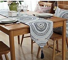 Tisch boxen kreativ personalitytv schrank tischtuch kaffee tisch dekoration tuch quaste -C 32x220cm(13x87inch)