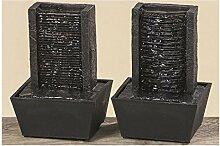 Tisch-Brunnen H18cm schwarz Kunstharz batteriebetrieben (2 fach sortiert, Vorauswahl nicht möglich)