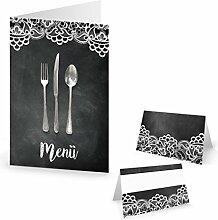 Tisch-Deko SET: 10 Menükarten + 25 Tischkarten