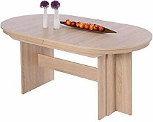 Tisch, Esstisch, Wohnzimmertisch, oval, ausziehbar, Innenkasten zum Verstauen der Platten, Maße: B/H/T 160-310/75/90 cm