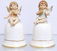 Tisch Glocke Engel Herz Stern 2tlg gold Akzent X-MAS Table Bell Deko Weihnachten