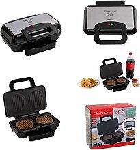 Tisch-Grill mit starken 800 Watt für Hamburger (Burger-Grill mit grippten Grillplatten , Antihaftbeschichtung, Fettabtropfwanne und Überhitzungsschutz)