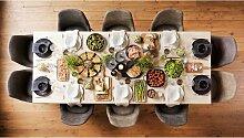 Tisch mit 10 Stühlen aus Eiche Massivholz