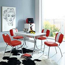 Tisch mit 4 Stühlen im Retro Style Rot Weiß