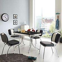Tisch mit 4 Stühlen in Schwarz Weiß gestreift