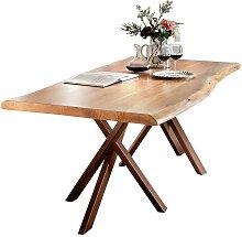 Tisch mit Baumkante Akazie massiv antik Braun Stahl