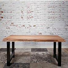 Tisch mit Massivholzplatte aus Akazie Bügelgestell