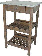 Tisch mit Weinregal Holz antique-look braun mit Zink Tischplatte 51x40x77 cm