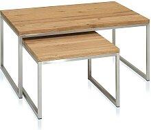 Tisch Set aus Eiche Altholz Edelstahl (zweiteilig)