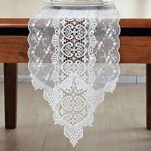 Tisch-Tischl?ufer/Flaggen der Europ?ischen pastorale Spitze Stoff Teetisch/TV Schrank lange Tischdecke-A 26x310cm(10x122inch)