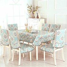 Tisch Tuch Mit Rechteckigen Tischtuch,Garten Stuhl Abdeckung,Hocker Set Tisch Set Chair Kissen Set-I 130*180cm(51x71inch)