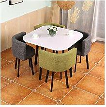 Tisch und Stühle aus weißem Holz, quadratisch, 1