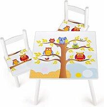 Tisch und Stühle für Kinder Tiere, 1 Tisch + 2 Stühle Motiv: Eulen