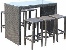 Tisch und Stühle Rattan Poly-Möbel Garten Mod. September Bar Set Bar