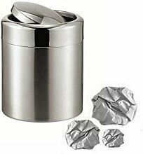 Tischabfalleimer Abfalleimer Mülleimer Entsorgung Edelstahl 1 Liter - mit Schwingdeckel