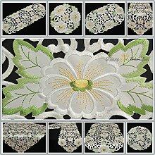 Tischband/Tischdecke creme-weiß mit Blumen Durchbruch-Stickerei - Größe wählbar (ca. 30 x 160 cm)