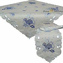 Tischband Tischläufer Mitteldecke Tischdecke Weiß Blau Marine Muschel Seestern ca. 30x160 cm
