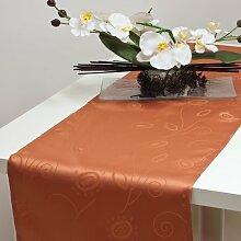 Tischband Tiscläufer Läufer Tischdecke 40x120 cm 40x160 cm, 40x160, orange-terra