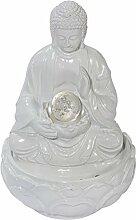 Tischbrunnen Buddha - Zimmerbrunnen Beleuchtet - Polyresin - Weiß - Höhe ca. 28 cm