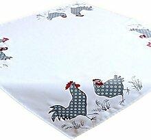 Tischdecke 110x110 cm OSTERN Weiß Hahn Henne Grau Gestickt Polyester Osterdecke Küche (Mitteldecke 110 x 110 cm)