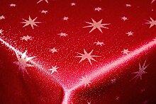 Tischdecke 110x110cm eckig rot silber mit Lurex Garn und eingewebten Sternen, dekorativ für die Weihnachtszeit in Gold, Rot/Silber, Anthrazit/Silber und Silber, außerdem in vielen Größen erhältlich und natürlich pflegeleich